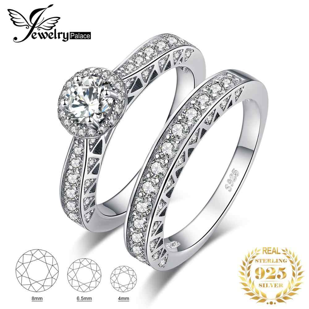 JewerlyPalace Vintage Catheral 2.4ct Cubic Zirconia Wedding Band Solitaire Engagement Ring Bridal Sets 925 Sterling Silver