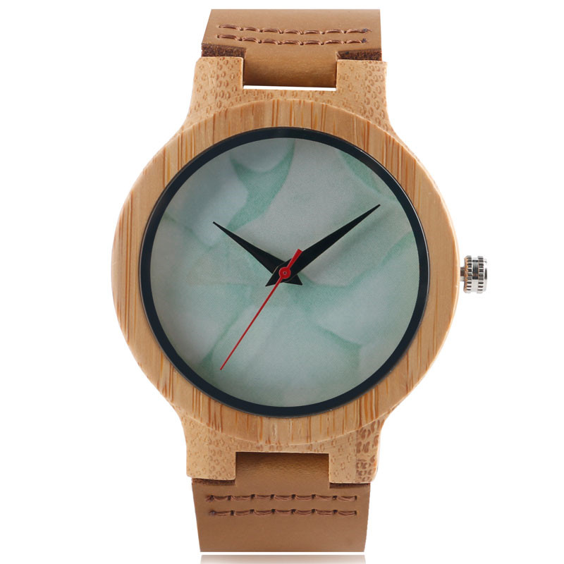 Fashion Creative Marble Design Dial Men Women Quartz Hand-made Bamboo Wood Watches Simple Cool Hot Sale Wooden Wrist Watch Gift