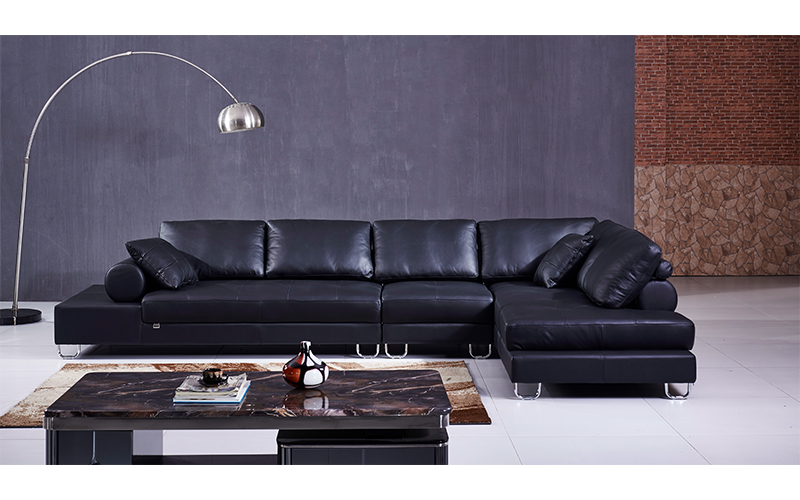 Divano Nero Moderno : Nero moderno l piattaforma a forma di divano in pelle sezionale