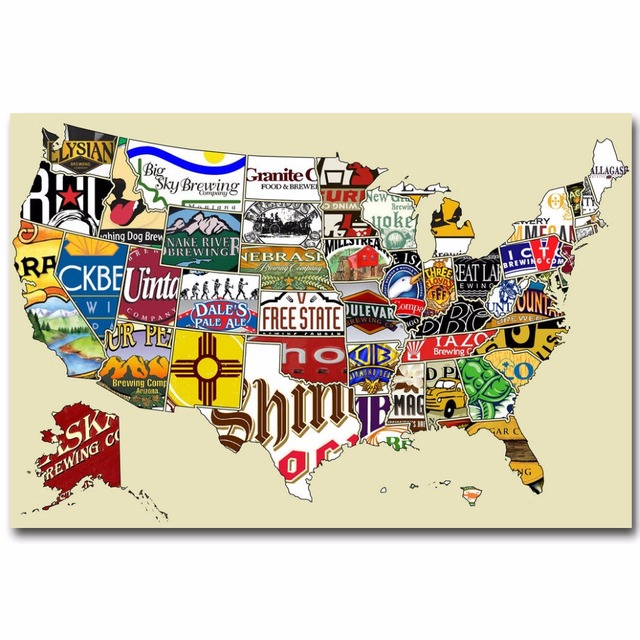 Poster Of Usa Map.J2355 Usa Craft Beer Map Funny Pop 14x21 24x36 Inches Silk Art