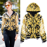famous brand style 2018 autumn short jackets women's hat hooded yellow pattern coats xl high quality clothes discount on sales