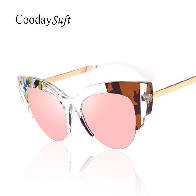 CVOO Fashion Metal Cat Eye Sunglasses Women Brand Designer Cat Eye Driving Goggles Sun Glasses UL48q