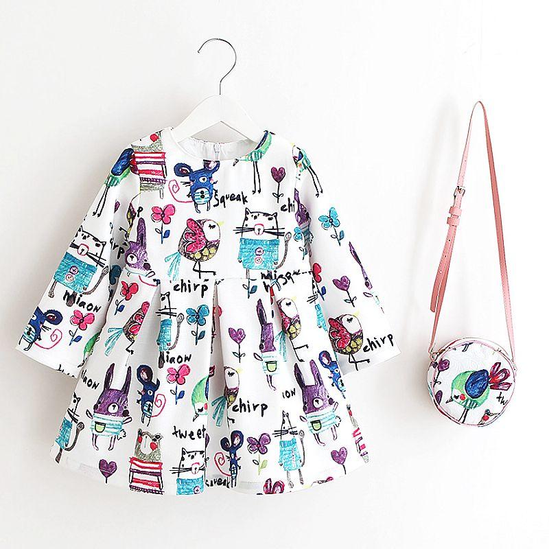 Princess Girls Dress Long Sleeve 2018 Autumn Brand Children Christmas Dress with Bag Printed Kids Dresses for Girls Clothing