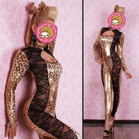 Abbille Women Lace Leopard Cat Jumpsuit PU Leather Cat Women Halloween Costumes Sexy Party Role Playing