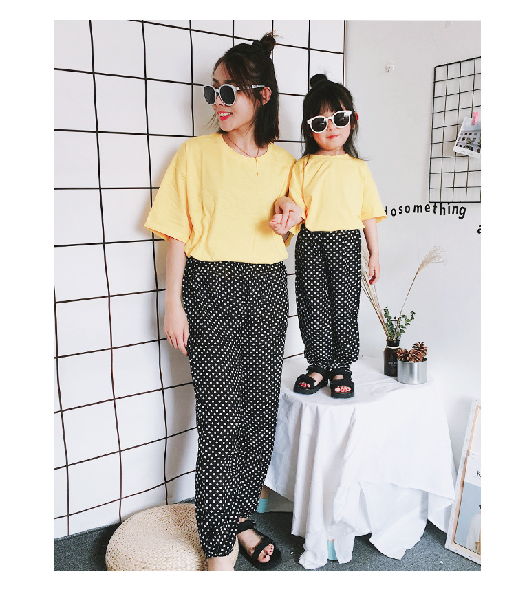 Mother Daughter Clothes 2018 New Summer Baby Girl Lantern Pants Family Look Kids Dot Printed Casual Trousers Pant Mosquito Pants 13