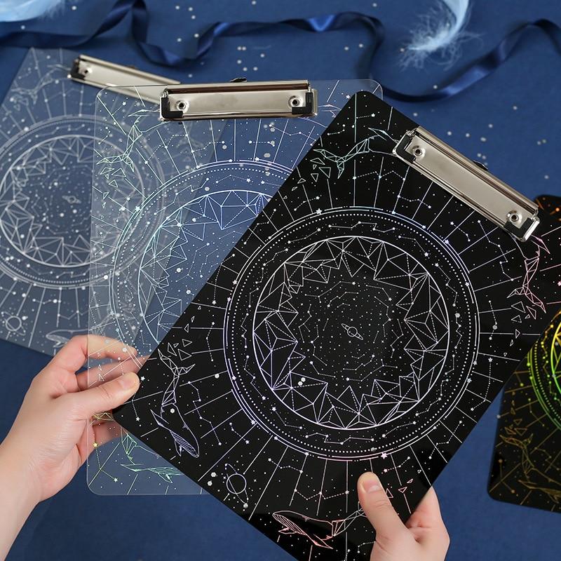 Laser Star Secret Series A4 File Folder Board Acryl Transparent Writing Plate Hard Board Backing Board Plate Stationery