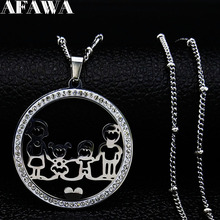 Family Boy and Gril Crystal Stainless Steel Necklace for Women Silver Color Choker Jewelry collares largos N19132