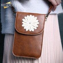 Kisscase мини-сумка чехол для Samsung Galaxy S8 S6 для Xiaomi Mi5 5S плюс Чехол Белый цветок бумажник сумки для iPhone 6 Huawei Mate 9