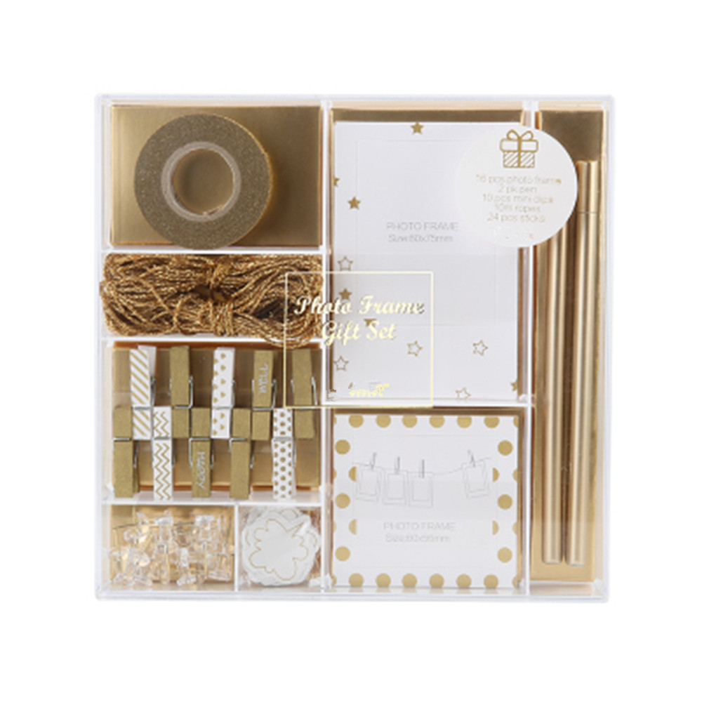 Photo Frame Gift Set Home Decorations Supplies Wood Clips Washi Tape Stickers Pens And Push Pins Stationery Set For Office DIY