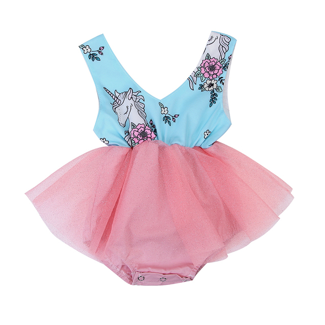 a33972e65a3f Newborn Toddler Baby Girls Kids Sleeveless Unicorn Romper Tulle Lace Tutu  Skirt Dress Outfits Baby Clothing 0-24M