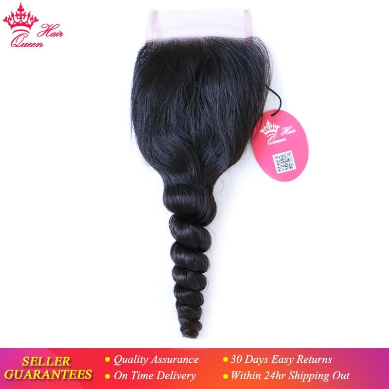 Queen Hair Products Brazilian Virgin Hair Swiss Lace Closure Loose Wave 100 Human Hair 4X4 Free