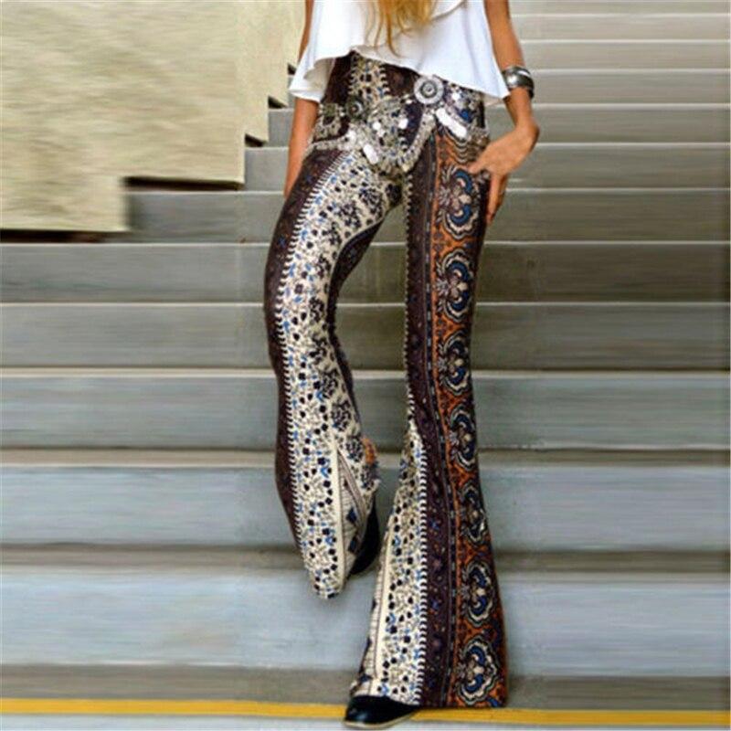 New 2019 Women Slim Boho Hippie High Waist Wide Leg Long Flared Bell Bottom Pants
