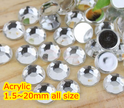 Wholesale Crystal Clear Color~1.5mm~12mm All Size,Flat Back Round Acrylic rhinestones,Acrylic 3D Nail Art/Garment Rhinestone cryatal clear color 1 5 20mm flat back round acrylic rhinestone acrylic resin 3d nail art garment rhinestone