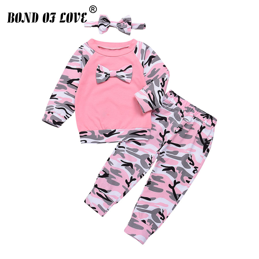 Tracksuit For Boys Children Clothing Sports Suit For Boys Girls Camouflage Bowknot T-Shirt Pants Headband 3pc Kids Clothes xiyu brand boys clothing set autumn tracksuit kids clothes for children sports suit for boys girls children s winter suit print