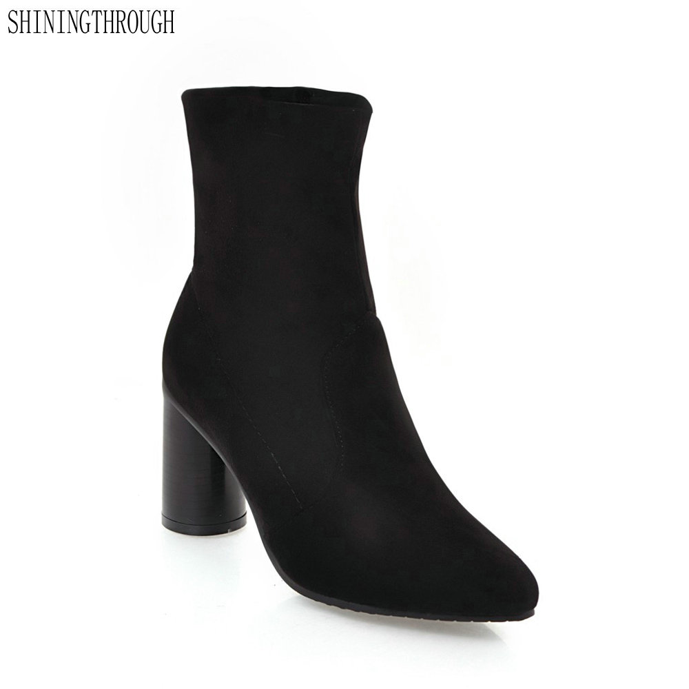 2018 Sexy Stretch Fabric High Heel Ankle Boot Women Slip-On poined toe Short Boots Zapatos Mujer dress shoes woman fonirra women stretch knit ankle boots fabric shoes striped heel socks boots round toe women slip on high heels female boots 682