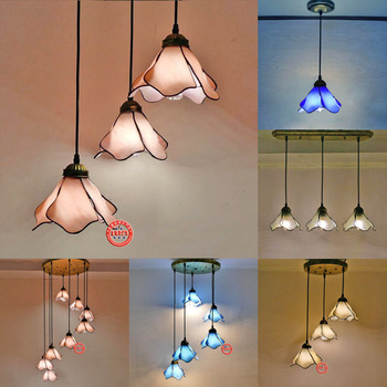 Mediterranean Lily Glass Chandelier Living Room Restaurant Modern Pastoral Painted Glass LED Chandelier free shipping