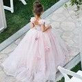 Бесплатная доставка Розовый Тюль Цветок Девочки Платья для Свадеб Этаж Длина vestidos de primera comunion