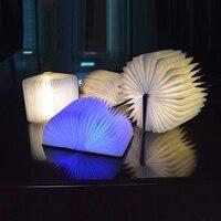 LED Foldable Wooden Book Shape Desk Lamp Nightlight Booklight USB Rechargeable