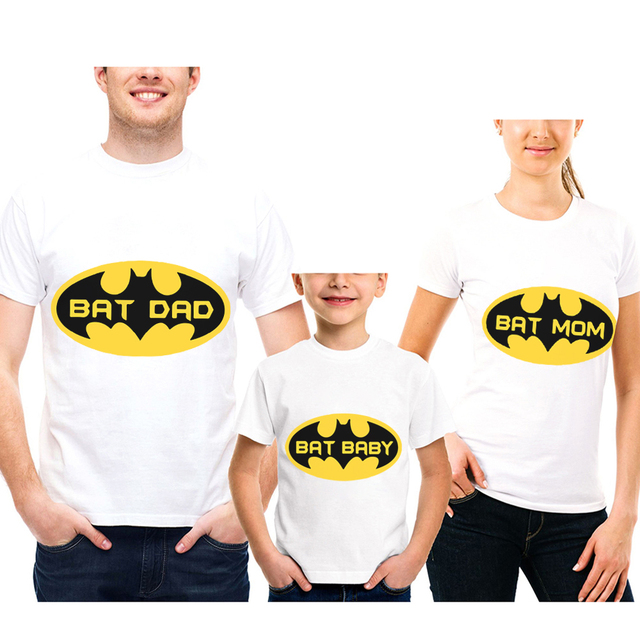 39c8f15b Hot Sale Short Sleeve Cotton Family Matching Mother Father Daughter Son T  Shirt Super Hero Batman Printed Family Look Clothing