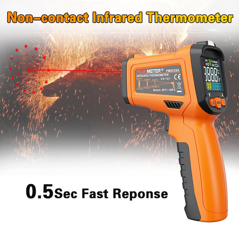 Non-contact Infrared Thermometer LCD Digital Display Pyrometer Infrared Thermometer with remote sensor Laser Indoor Outdoor 0 6 lcd portable non contact infrared thermometer white 50 220°c range