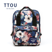 TTOU Flower Canvas Ba Lô Phụ Nữ Cao Đẳng Preppy Túi Đi Học Cho Thanh Thiếu Niên Cô Gái Công Suất Lớn In Ấn Backpack Rucksack Travel Túi