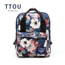 Ttou цветок холст рюкзак Для женщин Колледж опрятный Школьные сумки для подростков Обувь для девочек большой Ёмкость Печать Рюкзак Дорожные сумки