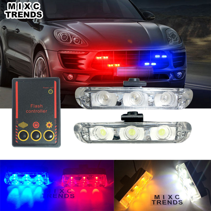 MIXC TRENDS Best Quality 2x3 Led Strobe Ambulance Police <font><b>light</b></font> DC 12V Car Motorcycle Flashing Firemen Warning <font><b>light</b></font> Car-Styling image