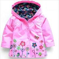 Novas Crianças Hoodies Roupas Print Floral Vento Chuva Jaqueta Outwear Casaco Bebê Jaqueta Blusão de Manga Longa Floral À Prova D' Água