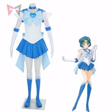 Athemis Anime Sailor Moon Mizuno Ami/Sailor Mercury Super S Cosplay Costume Custom Made Any Size Dress High Quality