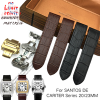 20mm 23mm High Quality Texture Genuine Leather Strap Folding Buckle Watchband Suitable for Santos DE Cartier Wristwatch for Men