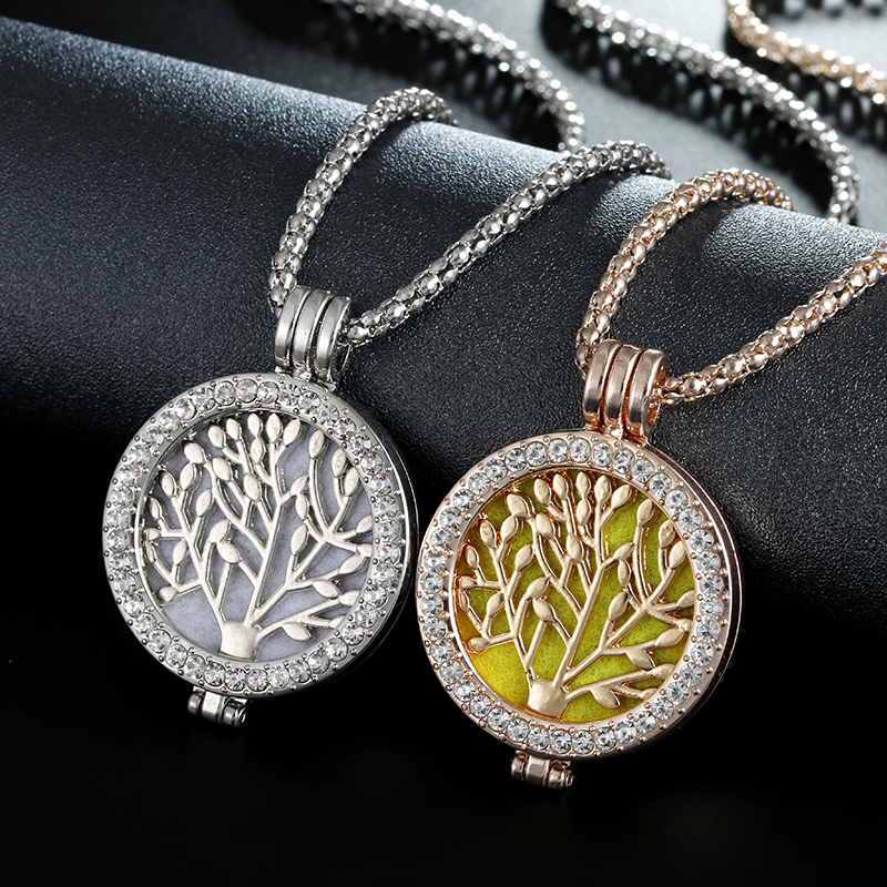 Itenice Chrismas Gift Couple Jewelry Scent Locket Tree of Life Aromatherapy Office & Career Style With Crystal Necklace locket