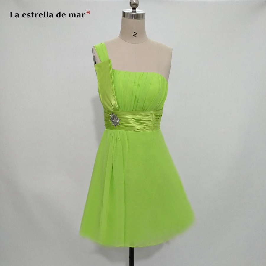 fcb1008a4 Vestido madrinha casamento2018 new chiffon one shoulder a Line lime green  bridesmaid dresses Knee Length cheap gaun pesta dewasa