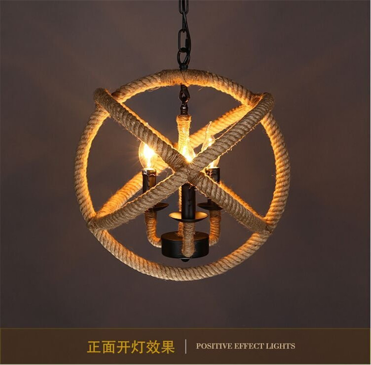 Retro Pendant Light Antique Hemp Vintage Rope Pendant Light Living Room Dining Room Cafe Coffee Decor Pendant Free shipping