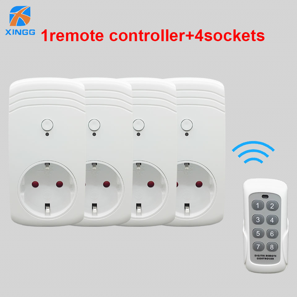 XINGG 2018 New 4Pcs Smart rf Wireless Switch Socket Remote Power Outlet 433MHZ Wireless Wall Plug Adapter For Household Eu UK US 5pcc lot kerui s71 wireless eu us uk au standard smart switch socket 433mhz for home security alarm system