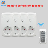 XINGG 2018 New 4Pcs Eu UK US Wireless Switch Socket Remote Power Outlet 433MHZ Wireless Wall