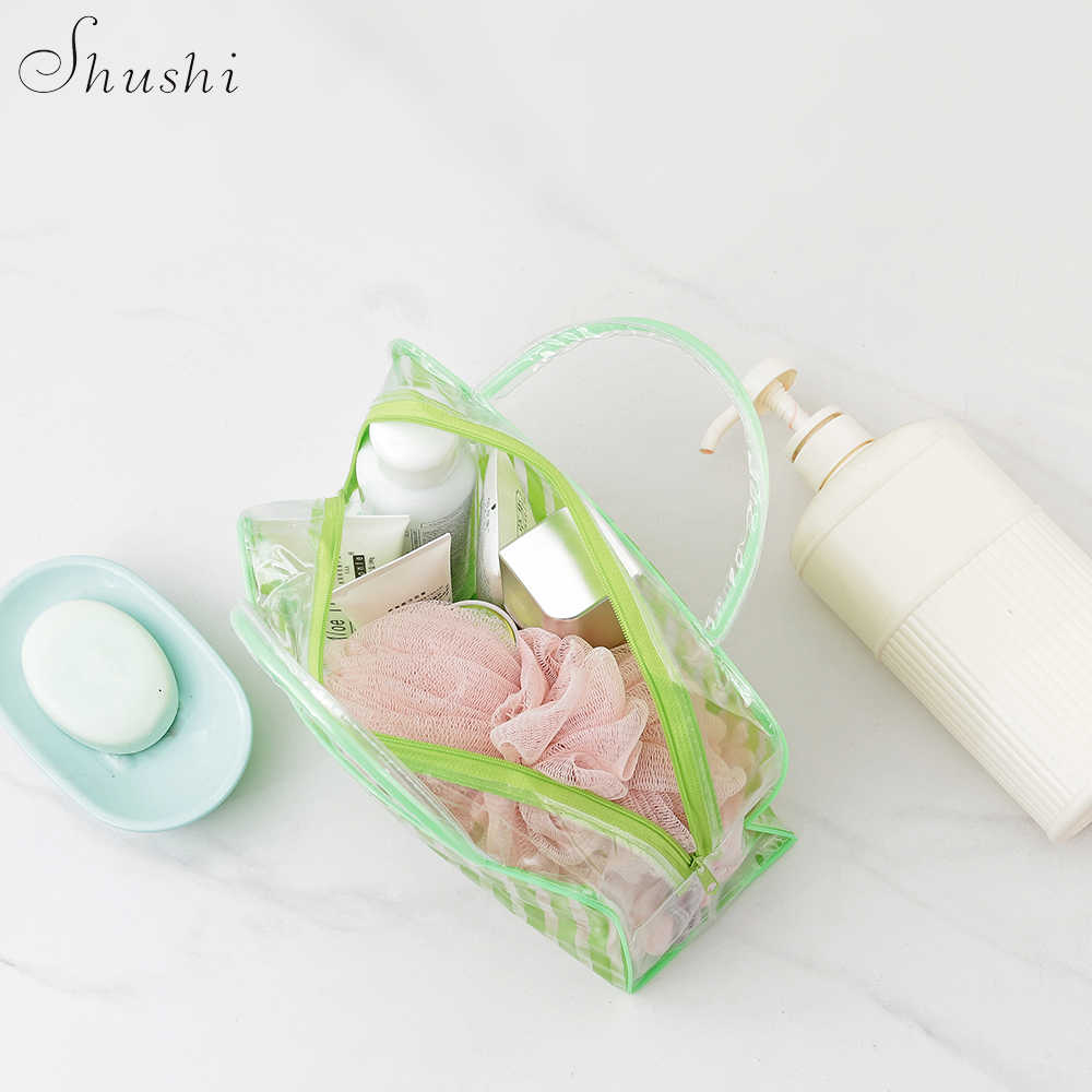 SHUSHI ホット販売クリア PVC 透明風呂バッグ個人旅行化粧品衛生バッグ持ち運びアメニティオーガナイザーウォッシュバッグ