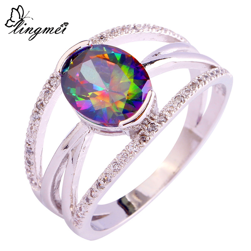 lingmei Mysterious Jewelry Gift Wholesale Rainbow & White CZ Silver Color Ring Size 7 8 9 10 Noble Unisex Rings Free Shipping