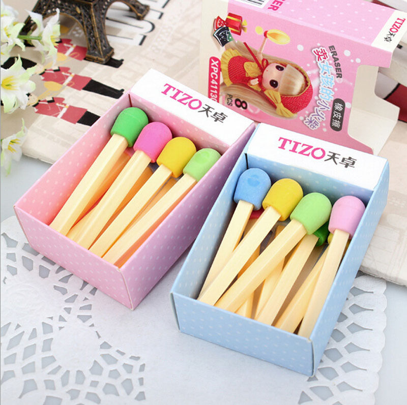 8 Pcs/lot (1 Box) Cute Kawaii Matches Eraser Lovely Colored Eraser For Kids Students Kids Creative Item Gift
