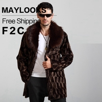 MAYLOOKS New Winter Faux Fur Coat For Male Mid Long Design Casual Faux Fur Coat Overcoat
