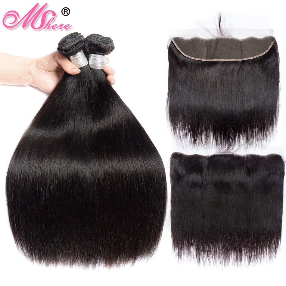 Mshere Hair Peruvian Straight Hair Bundle With Frontal Closure Human Hair Extensions 3 Bundles With Lace