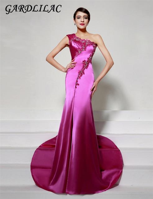 2017 un hombro tafetán sirena vestido de noche largo con apliques ...