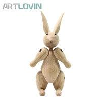 Original Nordic Designed Solid Oak Wooden Rabbit Bear Ornament Home Decoration Figurines Mascot Puppet Easter kids room decor