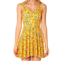 Fashion 1002 Sexy Girl Women Summer Adventure Time jack the dog 3D Prints Reversible Sleeveless Skater Pleated Dress