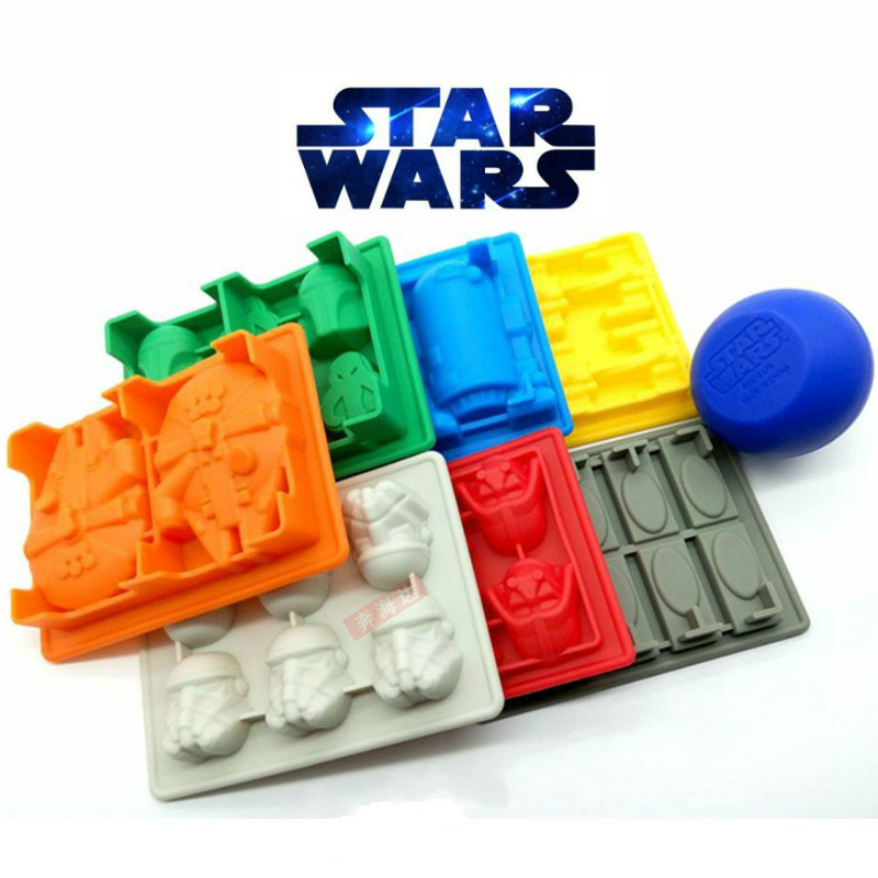 New 8pcs/set Star Wars Ice Tray Silicone interstellar Mold Ice Cube Ice grid robot Cream Makers Chocolate lattice Fondant Mould