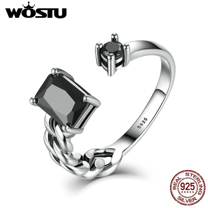 WOSTU 2017 Brand New 925 Sterling Silver Elegance Black CZ Open Finger Rings For Women Men Unisex Vintage Fine Jewelry CSR043