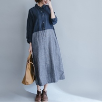 Summer Casual Linen Dresses Womens Slim Fit Dress Short Sleeve Plus Maix Size Thin Loose Striped