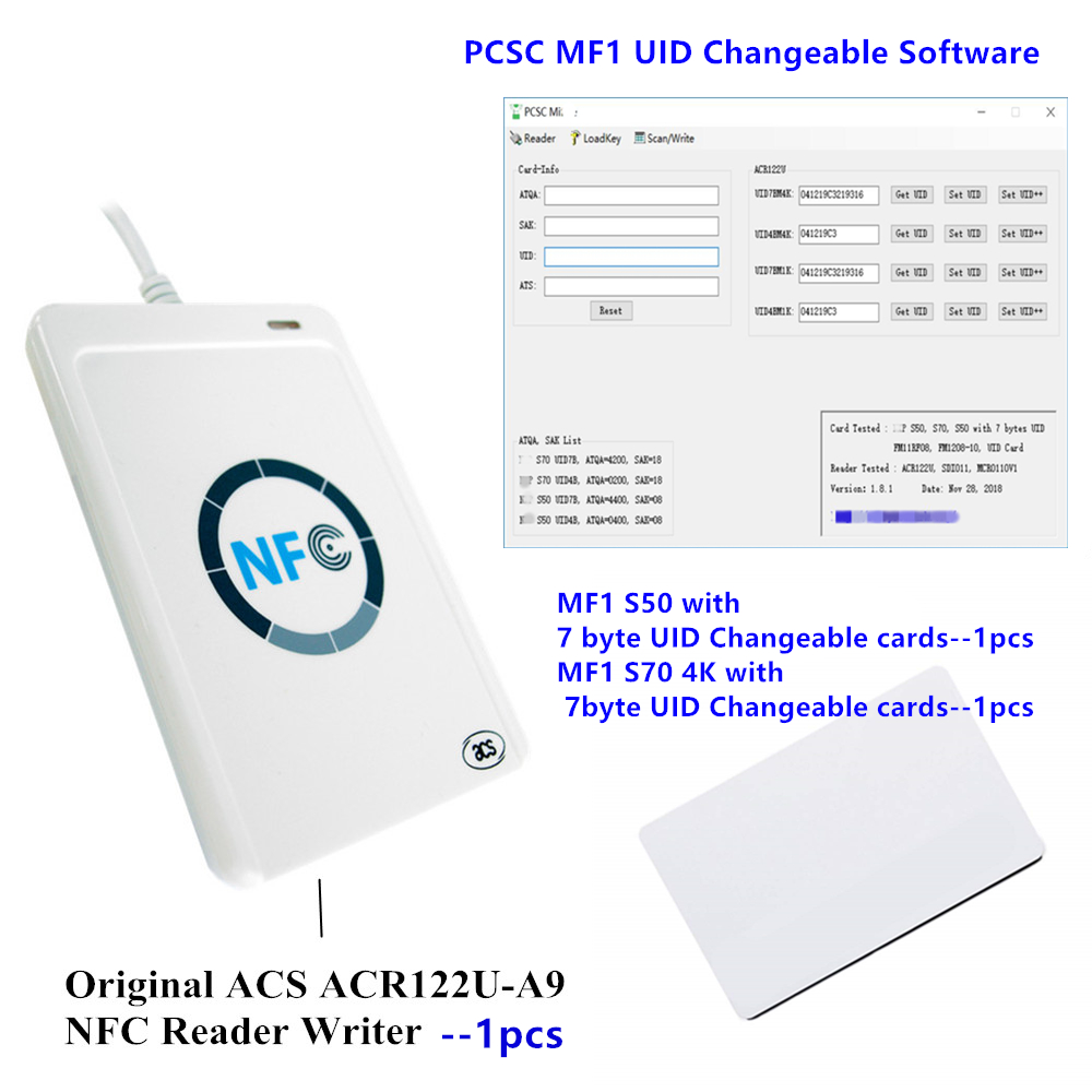 ACS Original ACR122U-A9 NFC Reader Writer Programmable MFS50 1K 4 byte 7 UID Changeable rfid Card with Software