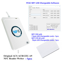 ACS Original ACR122U-A9 NFC Reader Writer Programmable MFS50 1K 4 byte 7 byte UID Changeable rfid Card with Software acs visual vantage nfc reader with lcd with free sdk acr122l