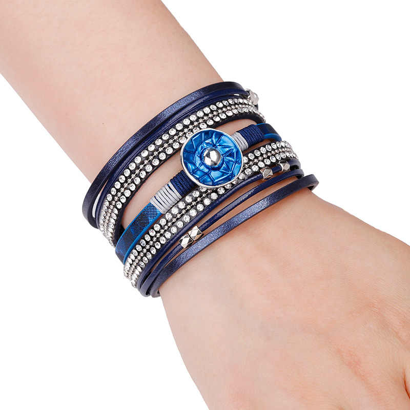 Allyes Kulit Gelang untuk Wanita Biru Enamel Logam Pesona Wanita Multilayer Wrap Lebar Gelang Femme Perhiasan