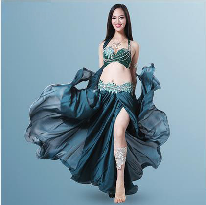 New style belly dance costumes sexy senior hand make bra top+long skirt 2pcs belly dance set for women belly dance suits
